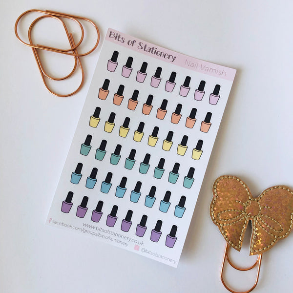 Nail Polish planner stickers hand drawn
