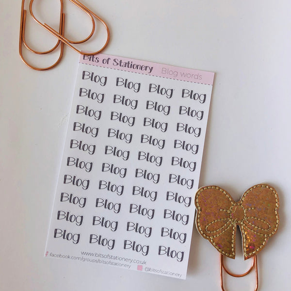Blog word planner stickers