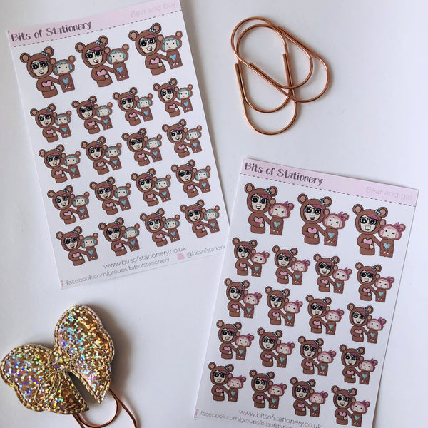 Beau and bear hand drawn planner stickers