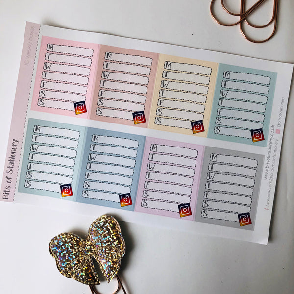 IG social media weekly planner tracker stickers