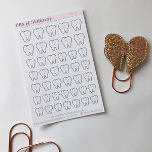 Tooth planner stickers hand drawn