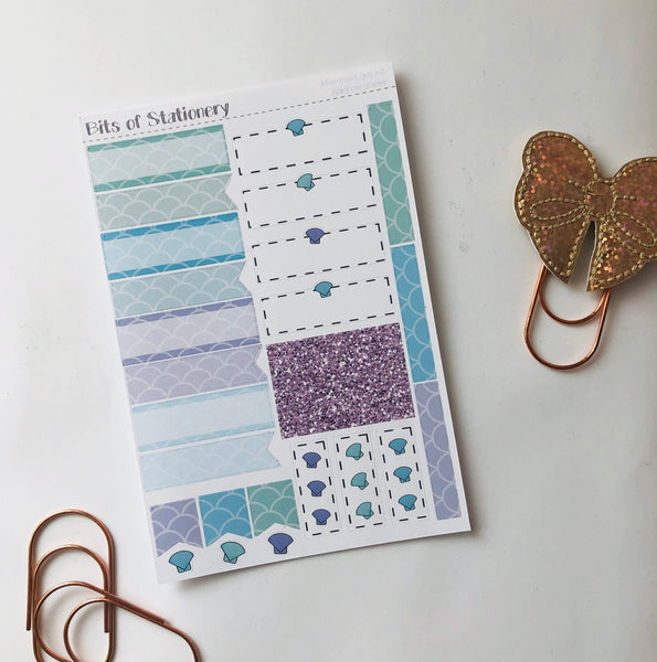 Mermaid ADD ON SHEET hand drawn planner stickers