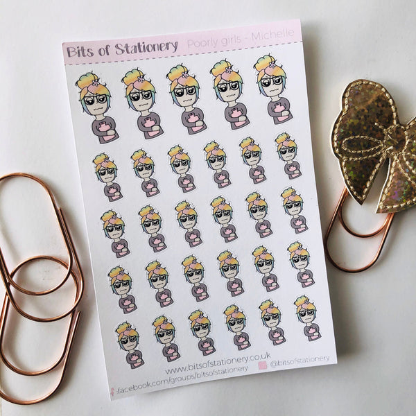 Poorly girl hand drawn planner stickers - choose your planner girl