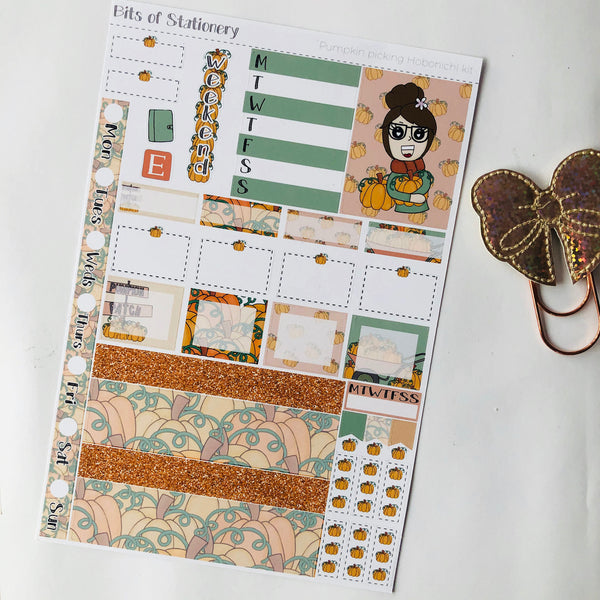 Pumpkin picking hobonichi weeks kit hand drawn planner stickers
