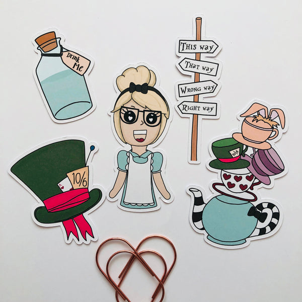 Alice hand drawn die cut set