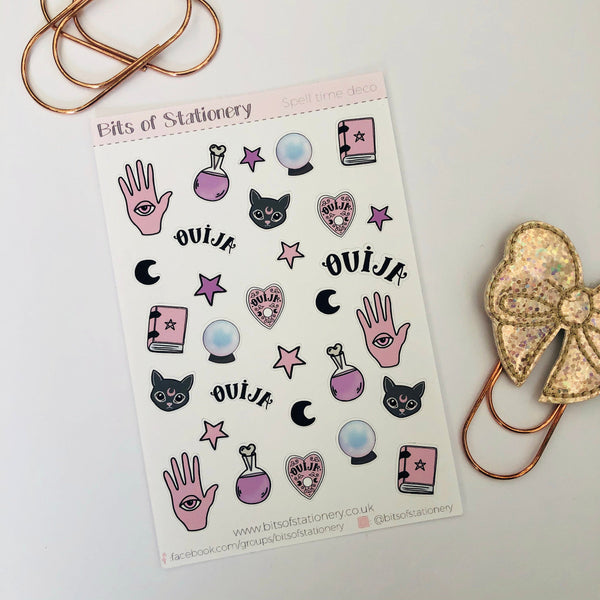 Spell time deco hand drawn planner stickers