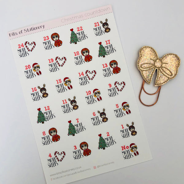 Christmas countdown hand drawn planner stickers