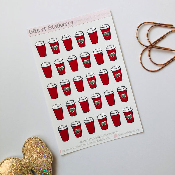 Chstmas Holiday Red Coffee cup planner stickers