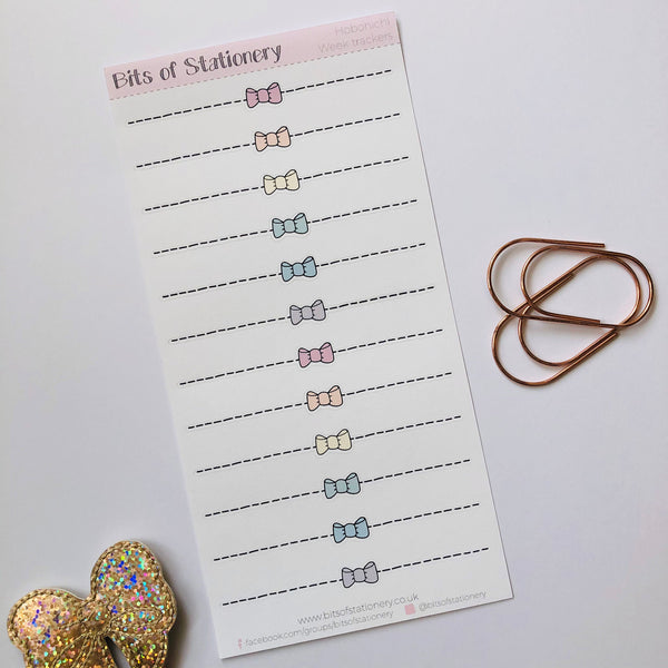 Hobonichi weeks hand drawn bow border planner stickers