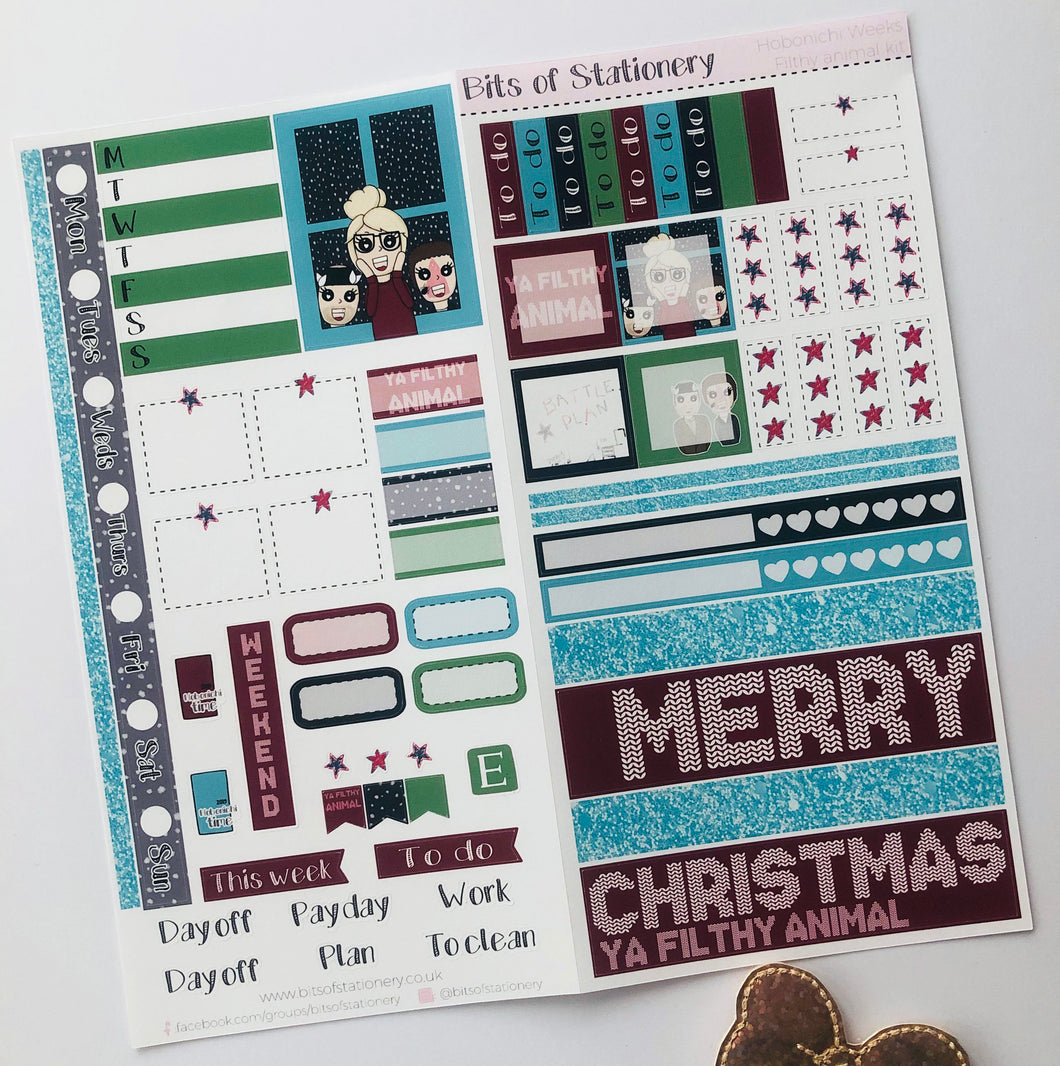 Filthy animal hobonichi weeks kit hand drawn planner stickers