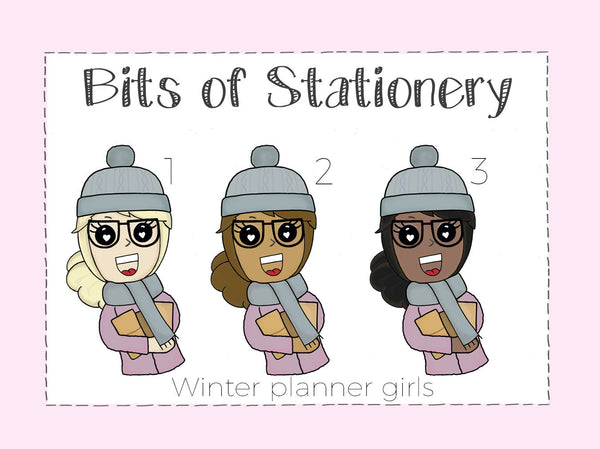 Winter planner girl hand drawn die cut