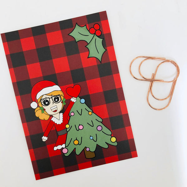 Christmas planner girl postcard