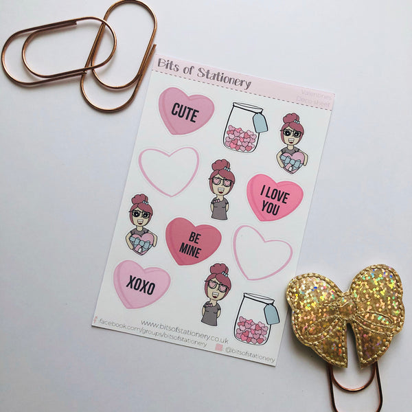 Valentines deco planner stickers hand drawn