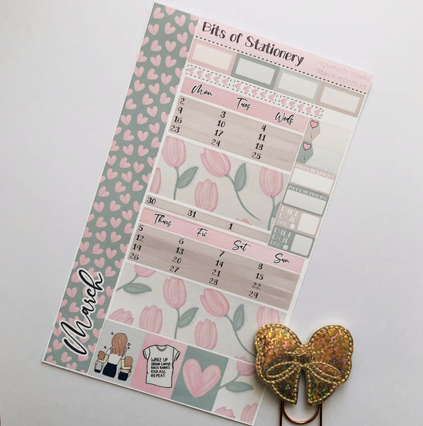MARCH Mother's day hobonichi weeks MONTH kit hand drawn planner stickers
