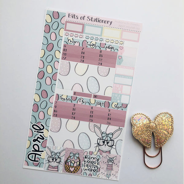 APRIL Easter bunny hobonichi weeks MONTH kit hand drawn planner stickers