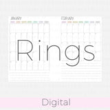 B6 Rings Month on one page 2021-2022 Rainbow DIGITAL