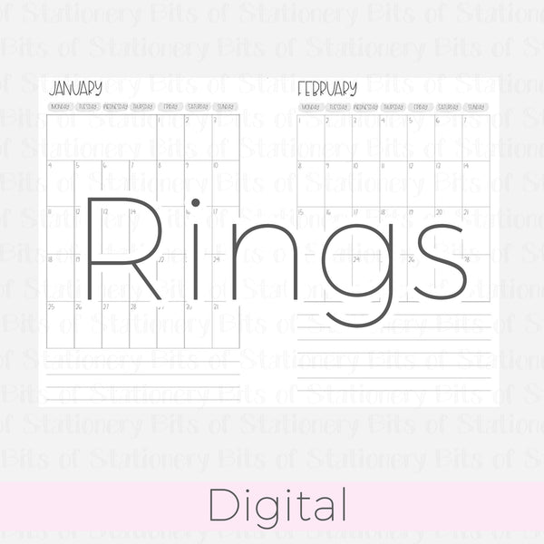 B6 Rings Month on one page 2021-2022 Grey DIGITAL