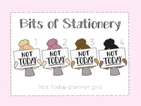 Not Today girl hand drawn die cut