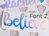 VINYL PERSONALISED name planner stickers FONT 2 - choose colour