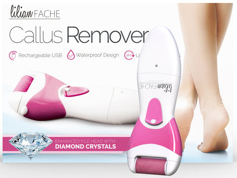 Lilian Fache Electronic Pedicure Foot File with Diamond Crystals - Electric Pedi Tool Callus Remover (no pressure required) USB Re-Chargeable – 1 Coarse and 1 Replacement Xtra Coarse Head, Pink