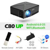 AUN MINI Projector C80 UP, 1280x720 Resolution, Android WIFI Proyector, LED Portable HD Beamer for Home Cinema, Optional C80