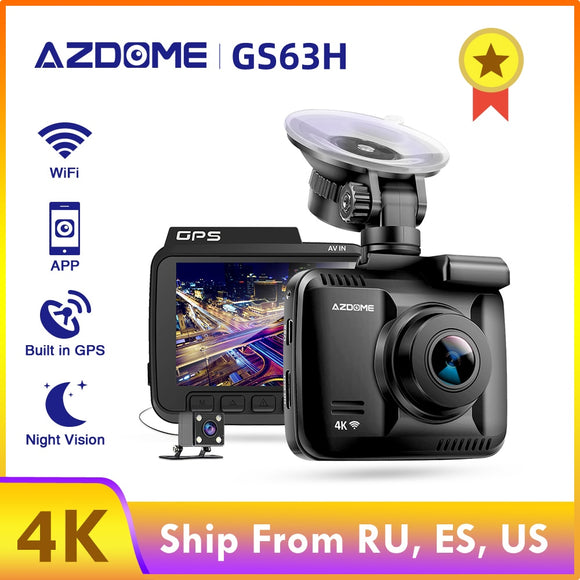 AZDOME Dash Cam GS63H 4K Built in GPS WiFi DVR Dual Lens