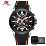 MINIFOCUS Chronograph Brand Luxury Casual Sport Date Quartz Silicone Wristwatches Waterproof Men's Wrist watch