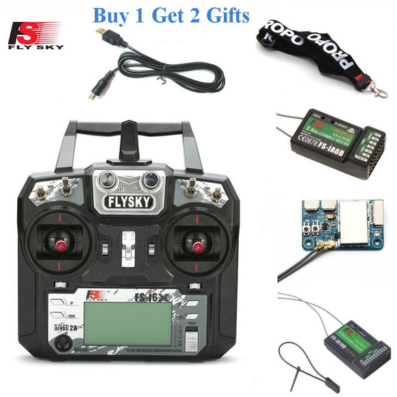 FLYSKY FS-i6X 2.4G 10CH AFHDS 2A Radio Transmitter with X6B/iA6B/A8S/iA10B/iA6 Receiver for RC Airplane Helicopter FPV Drones