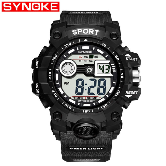 Men's Sports Electronic Watch Multi-Function Outdoor Large Screen Sport Watch Electronic Quartz Wristwatches Waterproof