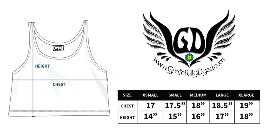 crop top sizing chart - greatfully dyed