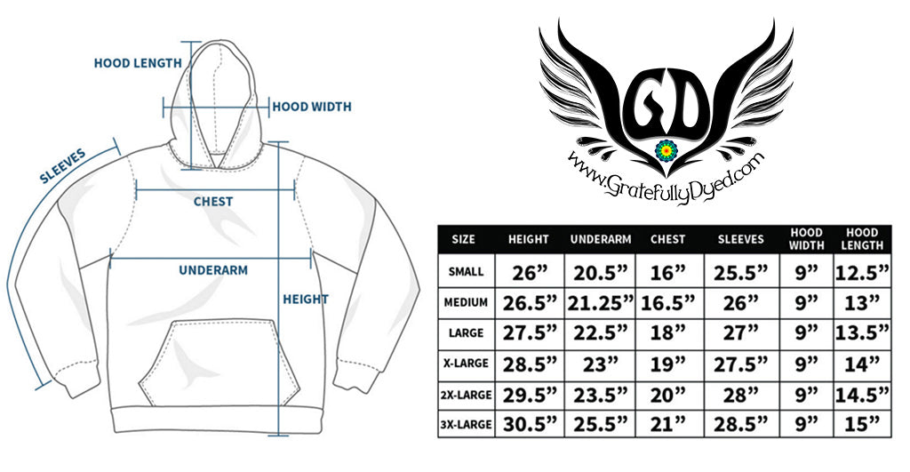 pullover hoodie size chart - gratefully dyed