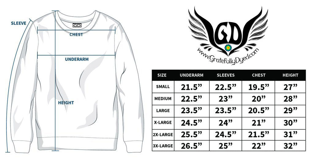 long sleeve t shirt sizing chart - gratefullydyed
