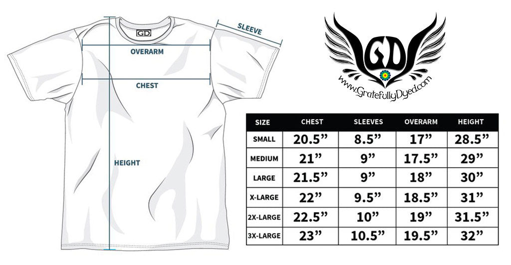 gratefully dyed t shirt sizing chart