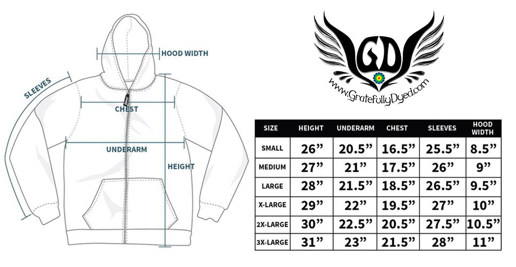 sublimation print zip up hoodie sizing chart
