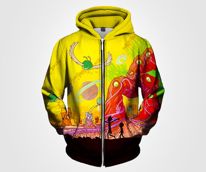 Rick and Morty Artwork Zip Up Festival Hoodie