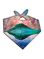 All over print red, green & blue mountain galaxy bandana by GratefullyDyed Apparel tied neck scarf view.