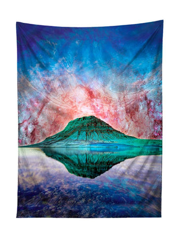 Vertical hanging view of all over print blue, red green & purple mountain galaxy tapestry by GratefullyDyed Apparel.