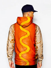 Model wearing GratefullyDyed Apparel hot dog hoodie.