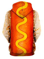 Rear of women's red & yellow mustard hot dog all over print hoody.