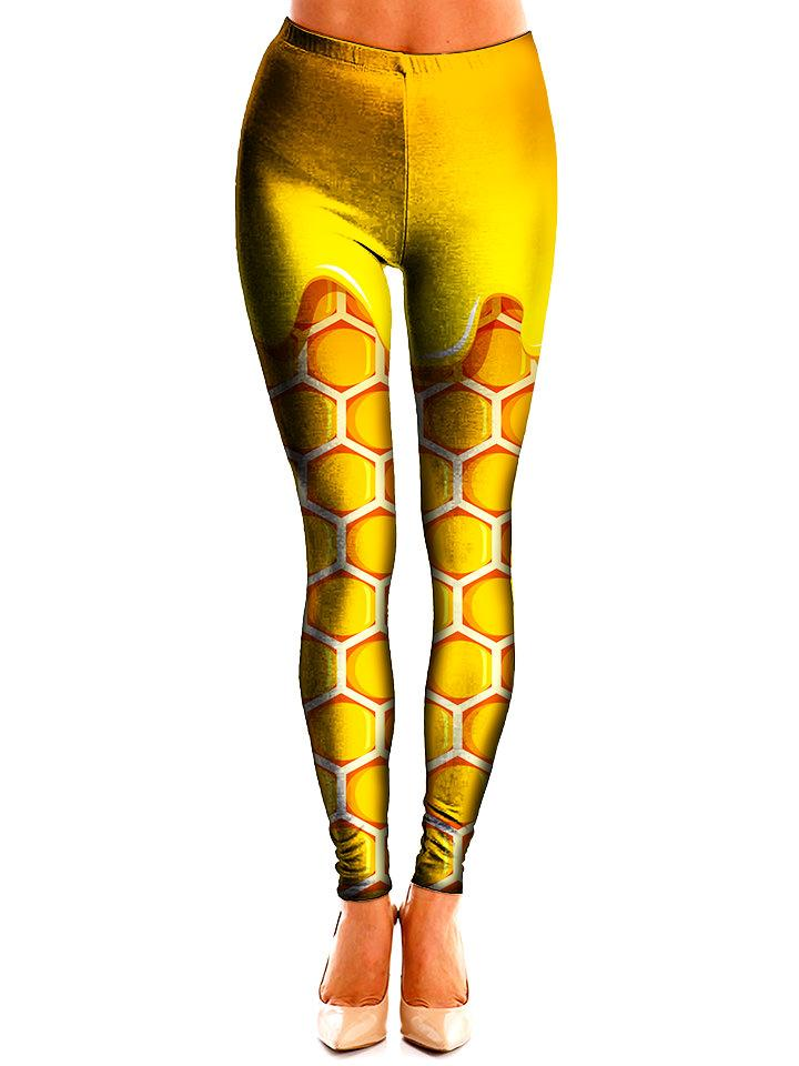 Yellow Honeycomb Leggings Front View