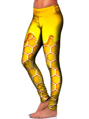 Yellow Honeycomb Leggings Side View