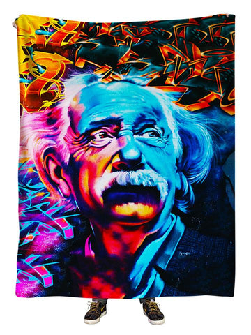 Hanging view of all over print orange, pink & blue Albert Einstein urban graffiti art blanket by GratefullyDyed Apparel.
