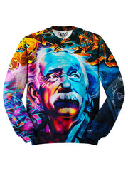 All over print blue, orange & pink Albert Einstein graffiti portrait unisex sweater by GratefullyDyed Apparel front view.