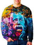 Model wearing Gratefully Dyed Apparel Albert Einstein graffiti portrait unisex sweater.
