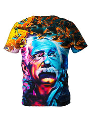 Back view of all over print psychedelic Albert Einstein t shirt by Gratefully Dyed Apparel.