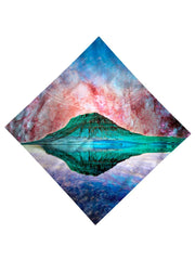 Trippy Gratefully Dyed Apparel red, green & blue mountain galaxy bandana flat view.