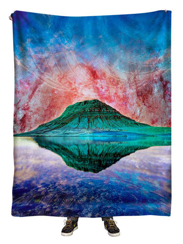 Hanging view of all over print blue, red & green mountain galaxy blanket by GratefullyDyed Apparel.