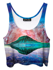 Trippy front view of GratefullyDyed Apparel blue, red, green & purple mountain galaxy crop top.
