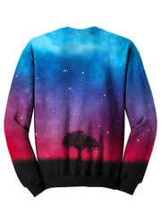 Back view of psychedelic tree & space pullover sweat shirt.