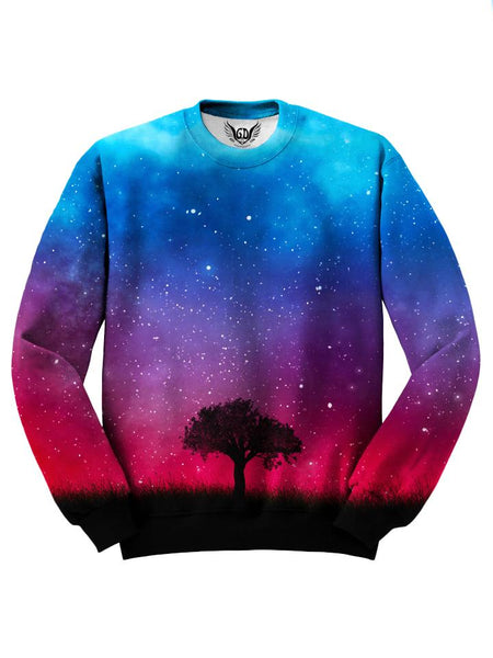 All over print blue, purple, red & black nature galaxy sweater by GratefullyDyed Apparel front view.